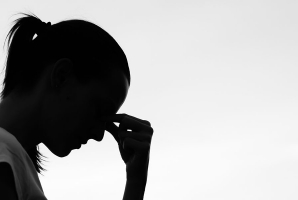 Woman struggling with her mental health
